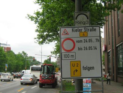 Kieler Straße gesperrt, der Umleitung folgen