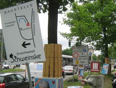 Umleitungsschilder am Eidelstedter Platz